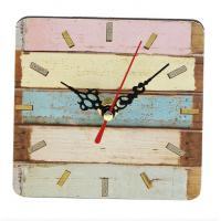 Buy cheap Blue Beach Stripe Wall Clock Modern Silent Wood Clock Vintage Rustic Large Square-shaped Wall Clock for Kitchen Bar from wholesalers