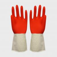 Buy cheap Household Double Colored Latex Gloves With Wave Cuff , Small / Medium / Large from wholesalers