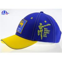 Cotton 6 Panel Blue and Yellow Baseball Sandwich Caps With Flat Embroidery Sri Lanka Logo