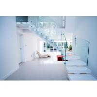 Buy cheap Interior white color curved staircase with glass railing design product
