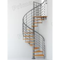 Buy cheap Iron Railing Wood Staircase Treads Customized Internal Spiral Stairs from wholesalers