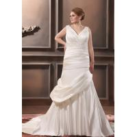 China Plus Size Mermaid V Neck Wedding Dress Applique Chapel Train Wedding Gown on sale