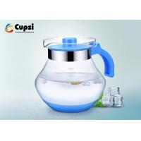 Buy cheap 2000ml Blue Glass Water Pitcher ,  High Strength Glass Juice Pitcher With Lid from wholesalers