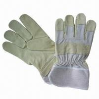 Buy cheap Stock Grain Pig Leather Working Gloves with Wing Thumb, Half Lining and Strip Cotton Back Design from wholesalers