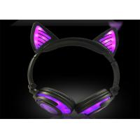Buy cheap Portable and foldable charming purple LED light wireless cat ear headphone 108L from wholesalers