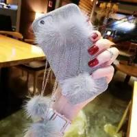 Buy cheap DIY Luxurious Small Fox Hair Chain Ball Pendants Cloth Type Cell Phone Case Cover For iPhone 7 6s Plus from wholesalers