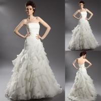 Buy cheap Mermaid Pleated Strapless Organza Wedding Dresses with Open Back / Sweep Train from wholesalers