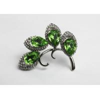 Buy cheap Lady Crystal Rhinestone Green Leaf Brooch For Clothing Pin / Scarf Clip from wholesalers