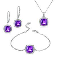 Buy cheap Natural Amethyst 925 Silver Gemstone Jewelry Earrings Bracelet Pendant Necklace from wholesalers