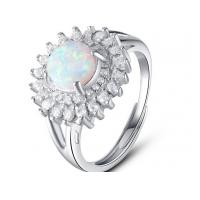 Buy cheap White Micro Pave Setting 925 Sterling Silver Opal Ring Luxurious Engagement Rings from wholesalers