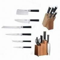 Buy cheap 5-piece Damascus Knives, Wood Block Set, Comfortable Handle, Deluxe Wood Block from wholesalers