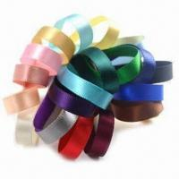 Buy cheap 6mm colorful double-face woven edge polyester satin ribbons with Azo-free product
