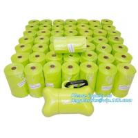 Buy cheap Disposable PE gloves Dog poop picker bags plastic cleaning gloves, bags on roll with dispenser and leash clip from wholesalers