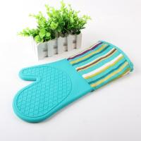 Buy cheap Half Silicone Half Cotton Heat Insulating Cooking Kitchen Oven Mitts Stripe Pattern product