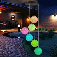 Buy cheap Solar LED Light Ball Pendant Bell Wind Chimes Color Changing Delicate Romantic Yard Garden Home Decor from wholesalers