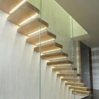 Buy cheap Customized Straight modern glass railing wooden stairs  build wood floating staircase from wholesalers