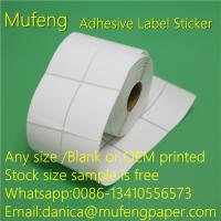 Buy cheap Direct Thermal Adhesive Backed Paper Roll With White Glassin 40mm Paper Core from wholesalers