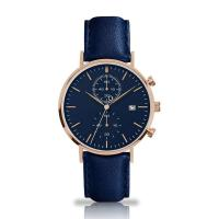 Buy cheap Blue Genuine Strap Stainless Steel Chronograph Watch PVD Coating Color from wholesalers