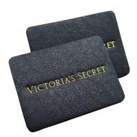 Buy cheap apparel genuine leather label stamped tags black leather patch logo factory from wholesalers