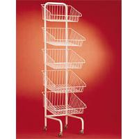 Buy cheap 5 tier basket white metal candy display rack with wheels from wholesalers