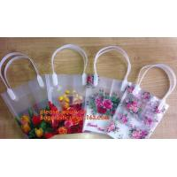 Buy cheap PP Trapezidal Rectangular Flower Package Bags,PP Flower Plastic Carry Bag with Tube Handle,flower pot bag printing PP pl from wholesalers