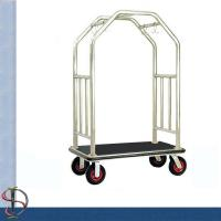 Buy cheap Hotel Luggage Cart / Chrome Round Bend Tube Luggage Trolley /Heavy-Duty Luggage Cart / Metal Luggage Trolley from wholesalers