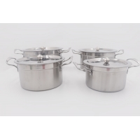 Buy cheap 4pcs Cookware set stainless steel high pot silver cooking pot from wholesalers