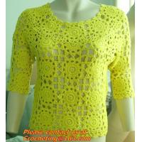 Buy cheap Crochet Sweaters, Women Fashion All-match Contrast Color Knitted Tricot Summer O-Neck Pullover Blouse Tops from wholesalers