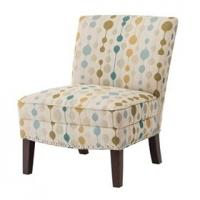 Multi Colored Slipper Accent ChairWoven Fabric With Silver Nail Heads
