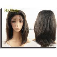 China Hand Tied Straight Virgin Human Hair Full Lace Wigs Short Hair Natural Color on sale