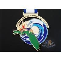 Buy cheap Customized Taekwondo Or wrestling Metal Award Medals with Sublimated Ribbon from wholesalers