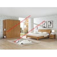 Buy cheap Nordic design Bedroom furniture by teak wood bed and nightstand with large size open door wardrobe product