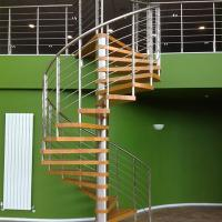 Buy cheap Internal Spiral Staircase Design For Timber Stair Steps Stainless Steel Railings / Steel Wood Spiral Stair from wholesalers
