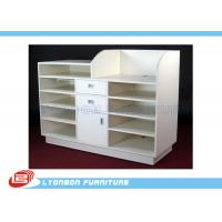 Buy cheap 5 Layers MDF White Shop Cash Counter Desk For Shop Payment , 3 Drawers from wholesalers