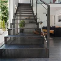 Buy cheap carbon steel mesh staircase with toughed glass balsutrade design product