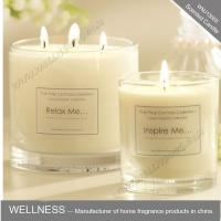 Buy cheap scented three cotton wick soy wax candle in clear glass jar  with gift box from wholesalers