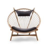 Buy cheap Modern design balcony semi-circular recliner wooden lounge chair mesh rope woven casual chair single sofa chair. from wholesalers