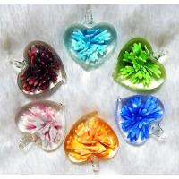 Buy cheap Flower Inside Heart Shape Glass Pendants (PENH0025) from wholesalers