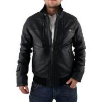 Buy cheap XL XXXL XLL 100% polyester men Fleece Lined Leather jacket with fur collar product
