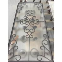 China decorative black color wrought iron glass for doors on sale