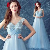 Buy cheap Light Blue Appliques And Beaded Elegant Evening Dresses TSJY046 from wholesalers