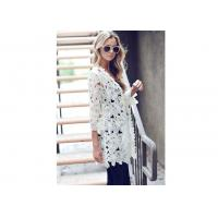 Buy cheap Embroidery Floral Ladies Long Tops For Leggings , White Floral Kimono from wholesalers