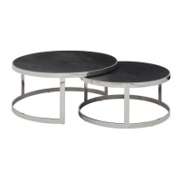 Buy cheap Modern Round Oak Wood Top Stainless Steel Nesting Tables 20mm from wholesalers