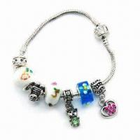 Buy cheap Pandora Bracelet with Lovely Beads and Customized Specifications, Made of Alloy, Cute Style from wholesalers