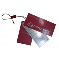 Buy cheap Pink Matt Coated Clothing Hang Tags Silvery Foil Stamped With Button Bags , Washing Marks from wholesalers