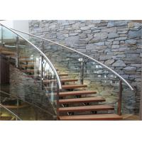 Buy cheap Wooden Treads Curved Staircase Building Curved Stairs With Laminated Tempered Glass Railing from wholesalers