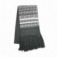 Buy cheap Men's knitted scarf, jacquard pattern from wholesalers