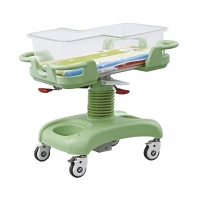 Buy cheap Diagonal Brake Hospital Baby Trolley With Transparent Plastic Basin from wholesalers