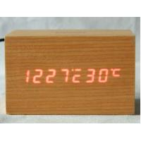 Buy cheap Digital Jumbo LED Wood Clock Vintage Table Wooden Alarm Clock from wholesalers