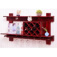 Buy cheap Wall Mounted Wooden Wine Rack And Glass Holder Cabinet , Floating Wine Glass Rack Shelf from wholesalers
